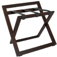Compact Wooden Luggage Rack with Backstand and Nylon Straps, Walnut